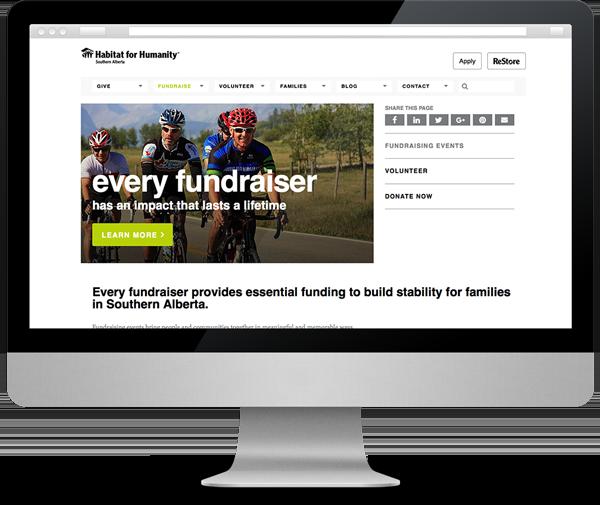 Habitat Southern Alberta charity fundraising website