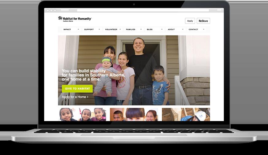 Habitat for Humanity charity marketing website