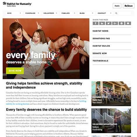 building stability for families in Alberta